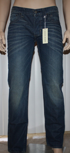 Guess PASADENA Men's Straight Leg Guide Wash Distressed Denim Jeans  (34 X 35)