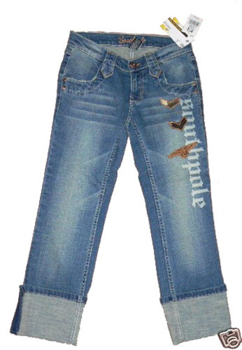 Southpole Women's Junior Cropped Distressed Denim Jeans (Size 1)