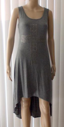 Milky Way USA Women's Gray Stud Embellished Cross Multi-Length Dress