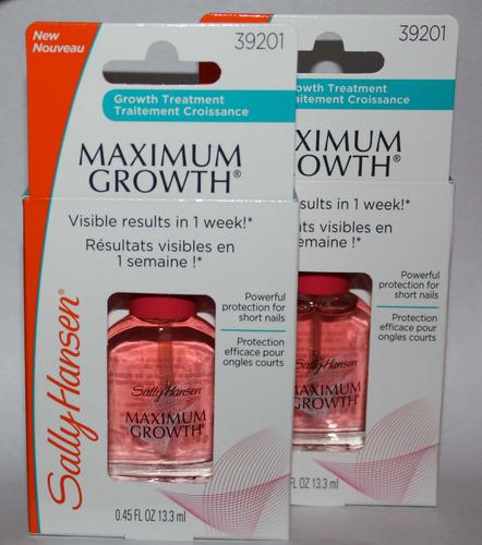 Lot Of 2 Sally Hansen MAXIMUM GROWTH Nail Treatment #39201 .45 oz Each
