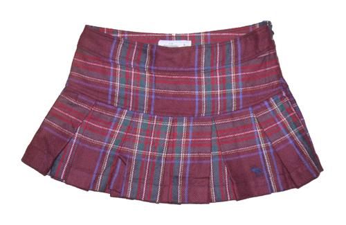 Abercrombie Kids Girl's Wool Blend Burgundy Plaid Pleated Mini Skirt (Size 12) *Reduced*