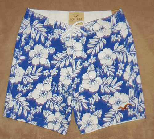 Hollister Men's MALIBU Hawaiian Print Board Shorts -Medium: