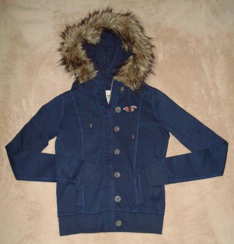 Hollister Women's Junior Navy Button Zip Front Fur Hooded Jacket - Small