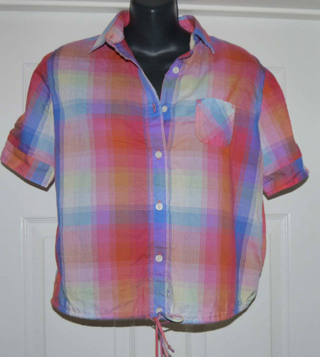 American Eagle Women's Plaid Button Front Top (X-Small)