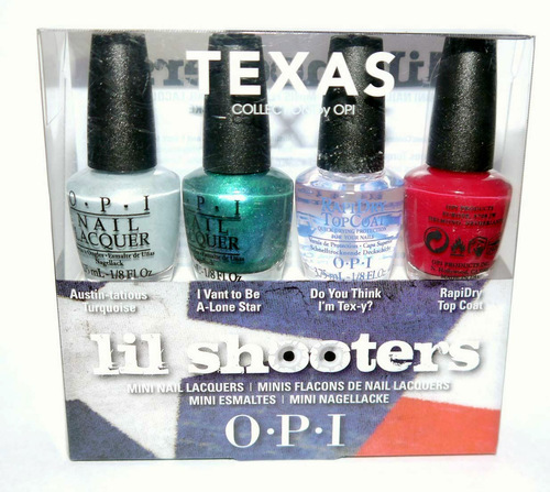 4 Colors OPI TEXAS Lil Shooters Mini Nail Lacquers Polishes 1/8 oz each *Reduced*