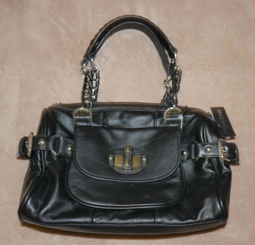 BEBE Black FIELD LEATHER SATCHEL Purse