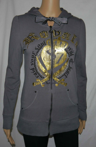 Seven 7 Women's Junior Gray Graphic Stud Embellished Hoodie Jacket (Small)
