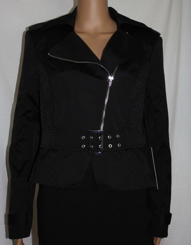 Bebe NOUVEAU RICHE Women's Black Zippered Belted MOTO Jacket -Small