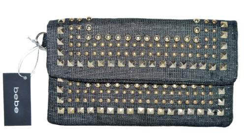 BEBE Black & Gold Studded Linen Wrislet Clutch Purse