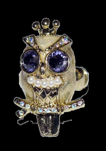 Betsey Johnson Gold Toned OWL Stretch Rhinestone Ring (One Size)