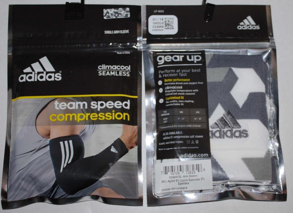 adidas Team Speed White/Gray/Grayish Purple Compression Arm Sleeve (Large/X-Large)
