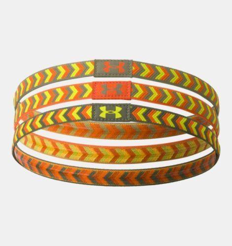 3 Pk Under Armor UA Patternfest Headbands Orange/Yellow/Sage/Olive (One Size)