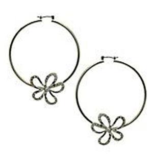 GUESS Women's Earrings, Crystal Flower Hoops