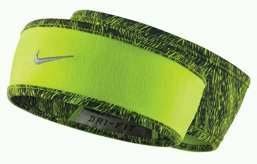 Nike RUN Women's Dri-Fit Reversible Headband Volt/Black Print-Volt/Silver Swoosh
