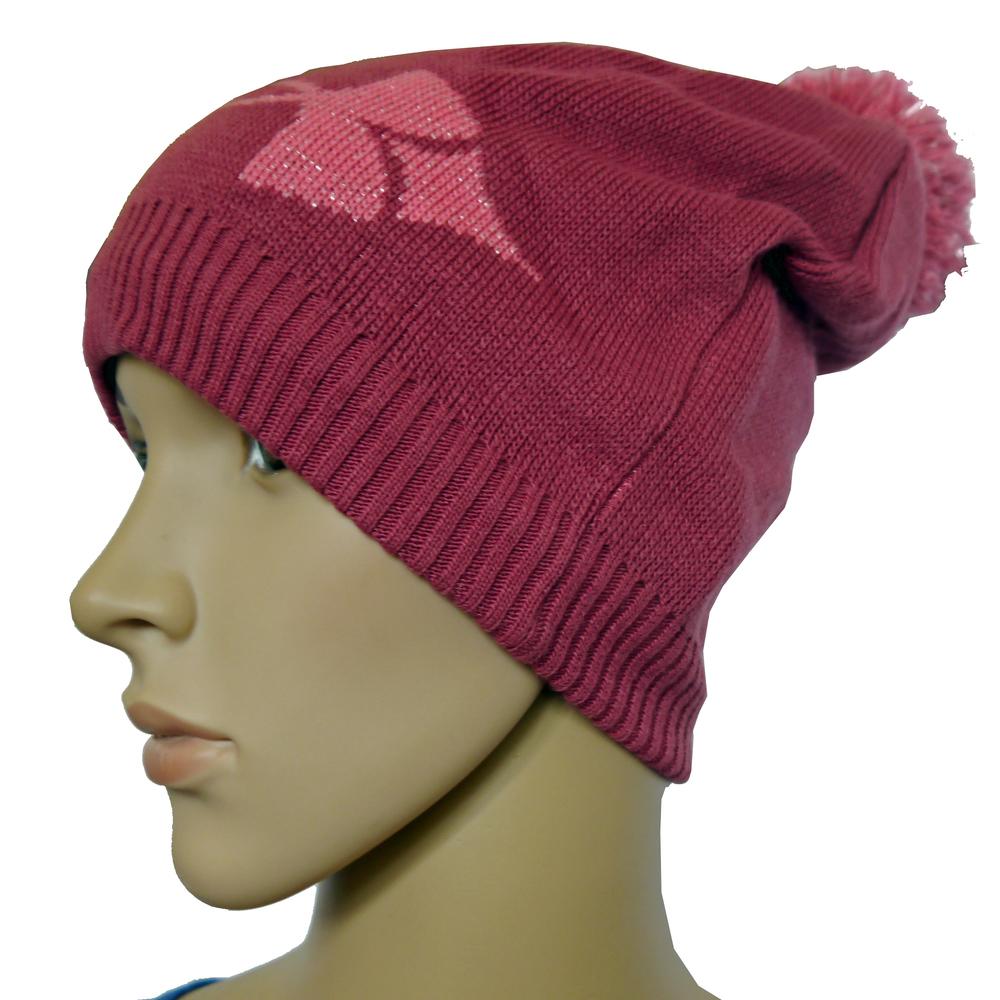 Under Armour Performance Coldgear Purple Berry Pom Beanie Hat (One Size)