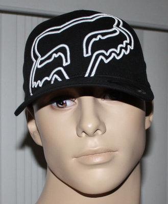 Fox Flex fit Men's Ball Cap Hat -Black With Fox (Large/X-Large)