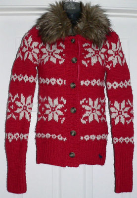 Abercrombie Kids Girl's Winter Red Snowflake Fur Collar Cardigan Sweater (X-Large) *Reduced*