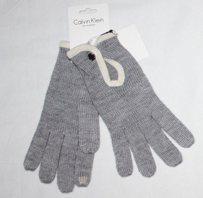 Calvin Klein Women's Wool Blend Text Enabled Gloves -Gray (One Size)