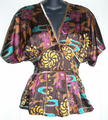 To The Max Women's Silk Floral Print Top Shirt (Small)