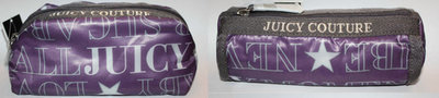 Set Of 2 Juicy Couture Purple Graphic Makeup Cosmetic Pouch Bag