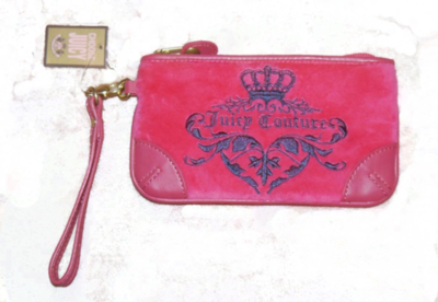 Juicy Couture VIVID 949 Dark Pink Graphic Velour Clutch YSRUS386 *Reduced*
