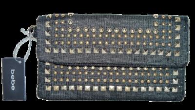 BEBE Black & Gold Studded Linen Wrislet Clutch Purse