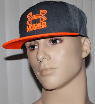 Under Armour Heatgear Men's Gray & Neon Orange Front Side Flat Brim Hat (One Size)