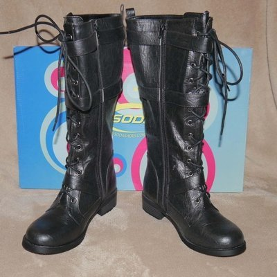 Soda KEVIN Women's Mid Calf Black Lace Up Buckle Boots (Size 7)