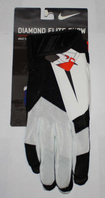 Nike DIAMOND ELITE SHOW Men's Black/White/Black Swoosh Batting Gloves (Small)