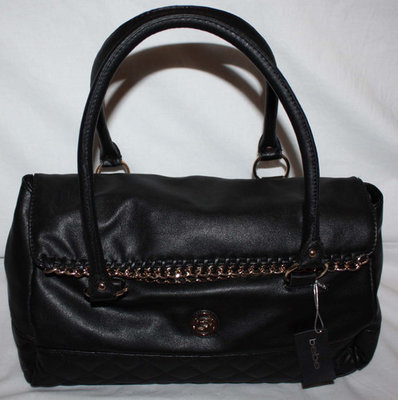 bebe SARAH Black With Gold Chain Accents Satchel Purse Bag