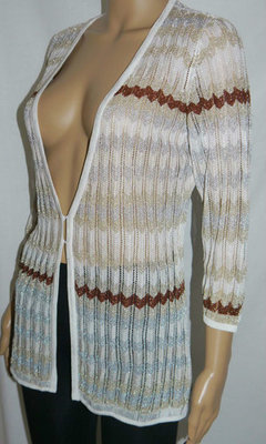 White House Black Market Women's Striped Knit Cardigan Sweater Top (Medium) *Reduced*