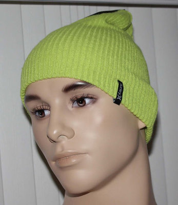 Hurley SHIPSHAPE Men's Neon Green Knit Beanie Hat (One Size)
