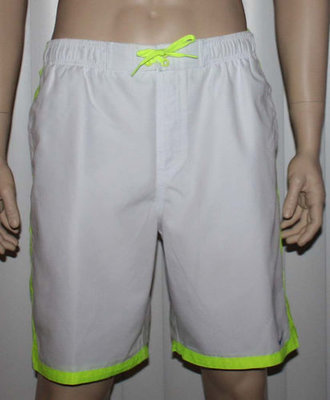 Nike Men's White With Neon/Blue/Aqua Accent Stripes Swim Shorts Trunks (Large)