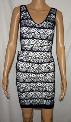 Bebe Women's Lace Stripe Black & White Tank Dress (Petite/Small)