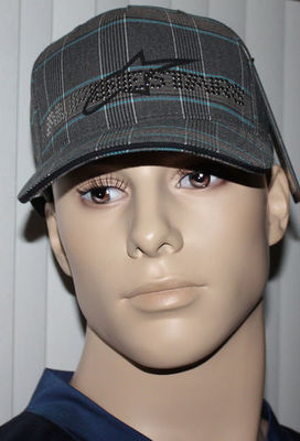 Alpinestars 4W STUDDED Men's Black/Aqua/Gray/White Plaid Hat Cap (One Size)