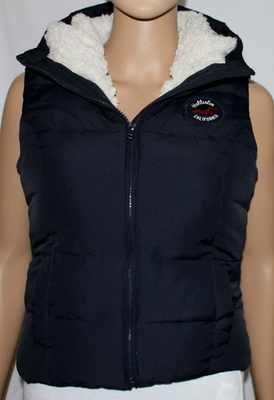 Hollister PEARL STREET Women's Junior Sherpa Lined Hooded Vest -Navy (Small)