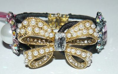Betsey Johnson Large Bow Multiple Stones Bangle Bracelet *Reduced*