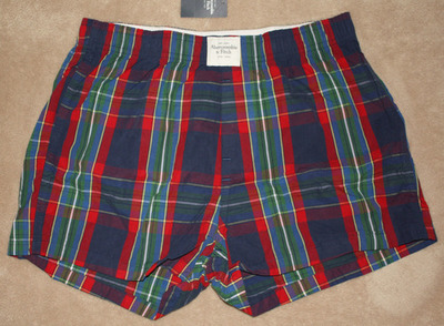 Abercrombie & Fitch Men's Multi-Colored Boxer Shorts -Blue Plaid (Small)