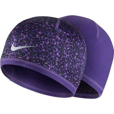 Nike RUN Women's Reversible Beanie Purple/Purple Black Animal Print