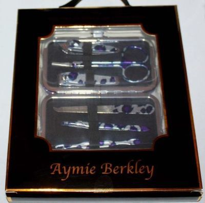 6 pc. Aymie B' Purple Animal Print Manicure Set & Purple Shimmer Case