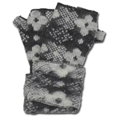 Lafenice Women's Charcoal Gray/White Floral Print Fingerless Gloves