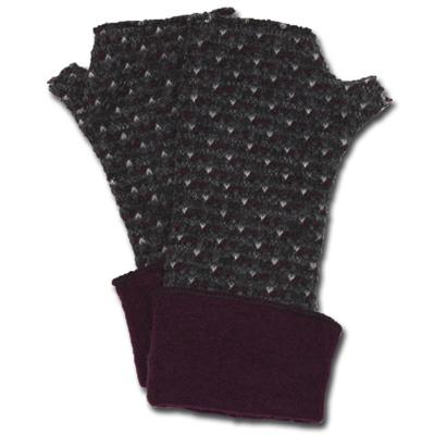 Lafenice Women's Heathered Charcoal/White/Deep Burgundy Print Fingerless Gloves