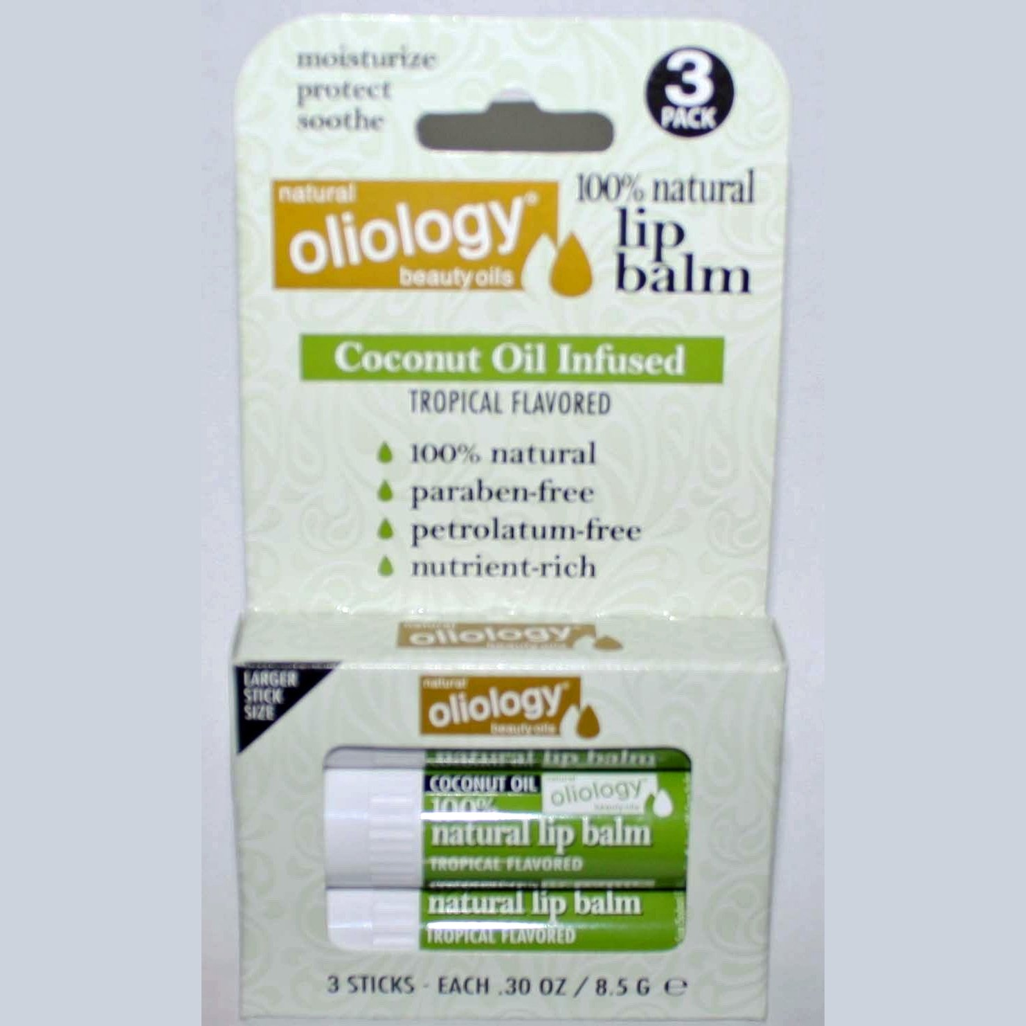 3 Pack Oliology 100% Natural Lip Balm Coconut Oil Infused/Tropical Flavored