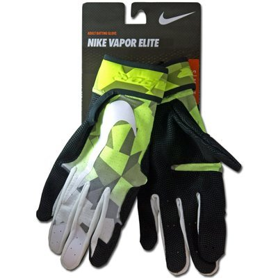 Nike Vapor Elite Adult Baseball Batting Gloves -White/Volt/Black (Small)