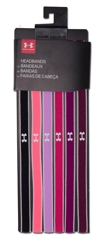 6 Pk Under Armour Women's Multi-Colored Mini Headbands -Black/Brilliance