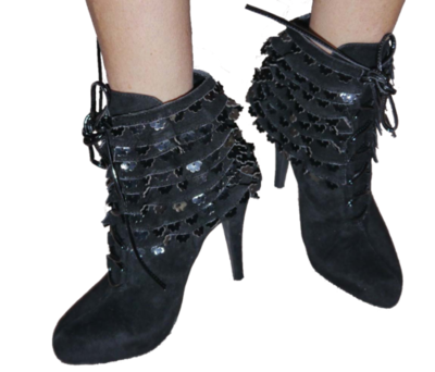 Colin Stuart Women's FRILLS BOOTIE Black Lace Up Ankle Boots (Sizes 7.5 and 6.5) *Reduced*