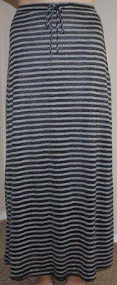 Lapis Women's Black & Gray Striped Lined Maxi Skirt