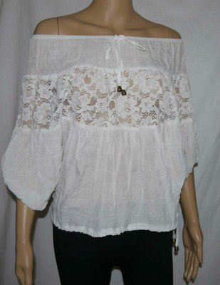 Romeo & Juliet Couture Women's White Textured On Or Off Shoulder Shirt Top