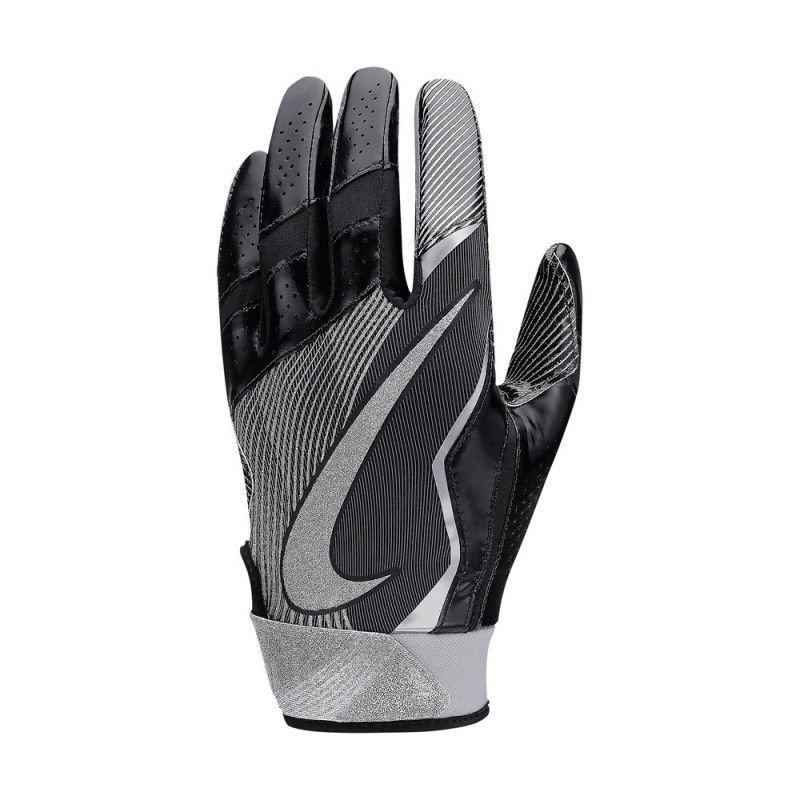 Nike Men Vapor Jet 4 Black/Gray/Metallic Silver High Speed Football Gloves -Small