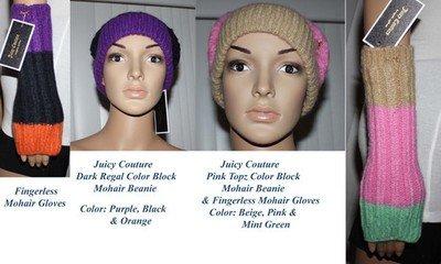 Juicy Couture Women's Color Block Mohair Beanie & Gloves Set (2 colors available)